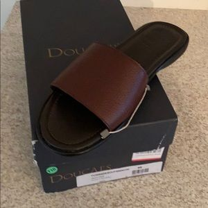 Men's leather slide sandals